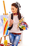 Female artist at work. Stock Photography