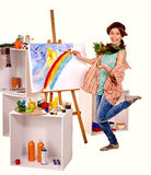 Female artist at work Royalty Free Stock Image