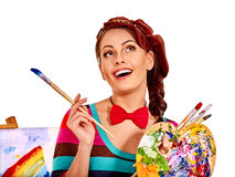 Female artist at work Royalty Free Stock Images