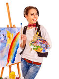 Female artist at work Royalty Free Stock Photography