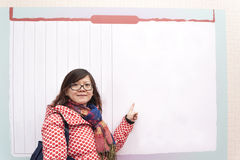 Female Asia woman With Finger By whiteboard Stock Image