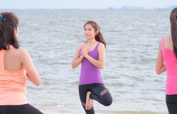 Female asia yoga doing tree pose and namaste with calm relax emo. Tion at beach,Sport training class group,Meditation pose,Wellness and Healthy Lifestyle royalty free stock images