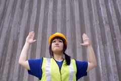 Female asian contractor stop Royalty Free Stock Image