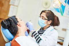 Female asian dentist doctor at work. Female dentist doctor during tooth examination and treatment royalty free stock image