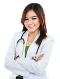 Female Asian doctor wearing a white coat and stethoscope Royalty Free Stock Photos