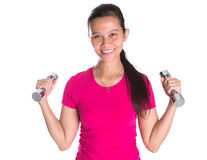 Female Asian With Dumbbell III Stock Photo