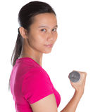 Female Asian With Dumbbell IV Royalty Free Stock Photos