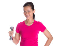 Female Asian With Dumbbell V Royalty Free Stock Image