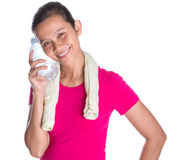 Female Asian With Mineral Water III Stock Image