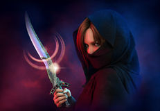 Female Assassin, 3d CG. 3d computer graphics of a  wrapped female assassin with a dagger Royalty Free Stock Images