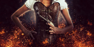 Female Assassin Holding Antique Pistol Royalty Free Stock Images
