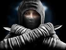 Female assassin slipping from the shadows closing in our her target. stock illustration