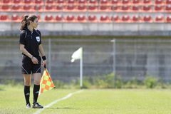 Female assistant referee. Gabriela Dananae, romanian assistant referee pictured during football match on Florea Dumitrache stadium Stock Image
