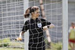 Female assistant referee. Gabriela Dananae, romanian assistant referee verifying the net on Florea Dumitrache stadium Stock Images