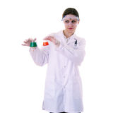 Female assistant scientist in white coat over  isolated background Royalty Free Stock Images