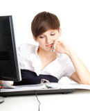 Female assistant working on computer Royalty Free Stock Photos