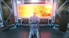A female astronaut athlete runs on a treadmill in a gym on a futuristic spaceship in front of a porthole overlooking a