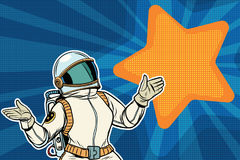 Female astronaut opened his arms dream star background Royalty Free Stock Image