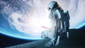 A female astronaut sits on the hull of her spaceship and admires the beautiful planet. Animation for fiction, futuristic