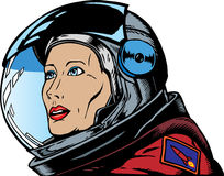Female Astronaut in space Stock Image