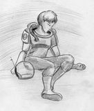 Female astronaut. Unconscious or sleeping female astronaut wearing space suit. Hand drawn pencil sketch Stock Images