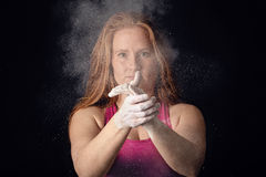 Female Athlete Cloud Of Chalk Hand Clapp. Sportswoman Preparing Determination Royalty Free Stock Photography