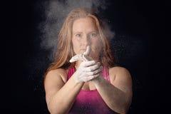 Female Athlete Cloud Of Chalk Hand Clapp. Sportswoman Preparing Determination Royalty Free Stock Photography