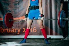 Female athlete deadlift Royalty Free Stock Image