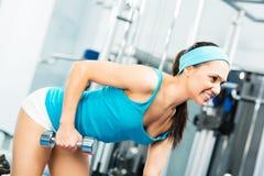 Female athlete dumbbell Royalty Free Stock Image