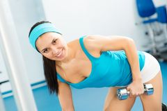 Female athlete dumbbell Royalty Free Stock Photo
