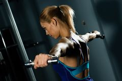 Female athlete dumbbell Royalty Free Stock Image