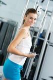 Female athlete dumbbell Stock Images