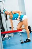 Female athlete dumbbell Stock Photos