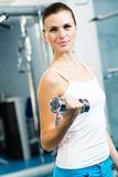 Female athlete dumbbell Stock Photography
