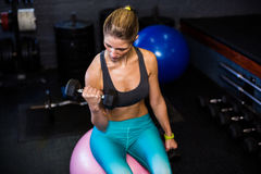 Female athlete exercising with dumbbell in gym Stock Images