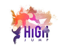 Female Athlete in High Jump action. Creative abstract illustration of a Female Athlete in action of High Jump for Sports concept, Can be used as Poster, Banner Stock Image