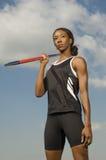 Female Athlete Holding Javelin Royalty Free Stock Images