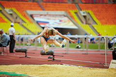 Female athlete in long jump place Royalty Free Stock Photography