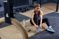 Female Athlete in Modern Gym royalty free stock photos
