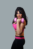 Female Athlete with Pink Hand Weight (2) stock photo
