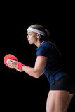 Female athlete playing ping pong Royalty Free Stock Photo