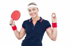 Female athlete playing ping pong Royalty Free Stock Images