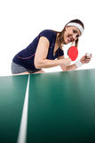Female athlete playing table tennis royalty free stock photo