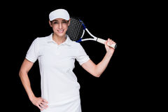Female athlete playing tennis Royalty Free Stock Images