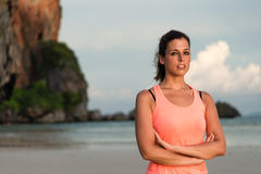 Female athlete portrait at the beach Royalty Free Stock Photos