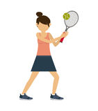 Female athlete practicing  tennis isolated icon design. Female athlete practicing tennis  isolated icon design, vector illustration  graphic Stock Image