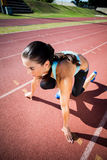 Female athlete in ready to run position stock image