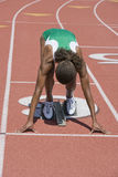 Female Athlete Ready To Start Race Stock Photos