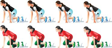 Track and Field female set 2 stock illustration