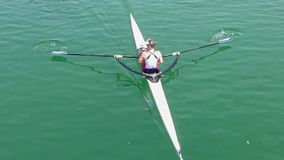 Female athlete on rowing, slow motion video stock footage